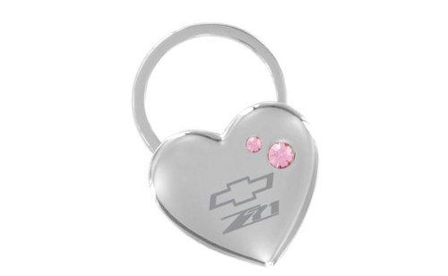 Chevrolet Z71 Heart Shape Keychain 2 Pink Crystals Key Chain