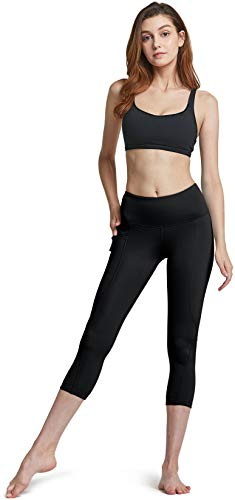 ATHLIO High Waist Yoga Pants with Pockets, Tummy Control Yoga Leggings, 4 Way Stretch Non See-Through Workout Running Tights, Capri1 3pack (ycp36) - Black/Navy/Stone, Small