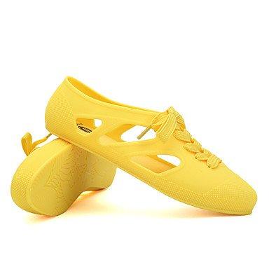 LvYuan Mujer-Tacón Plano-Confort-Sandalias-Informal-Látex-Negro Amarillo Rosa Beige Verde Claro Azul Claro Yellow