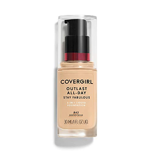 COVERGIRL Outlast All-Day Stay Fabulous 3-in-1 Foundation Medium Beige, 1 oz (packaging may vary) (Medium Beige Foundation)