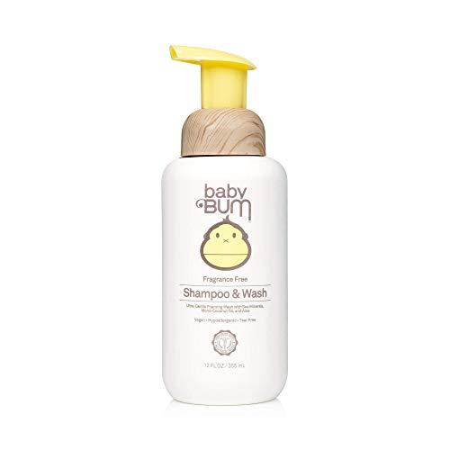 Baby Bum Shampoo & Wash | Tear Free Foaming Soap for Sensitive Skin with Nourishing Coconut Oil | Fragrance Free | Gluten Free and Vegan | 12 FL OZ