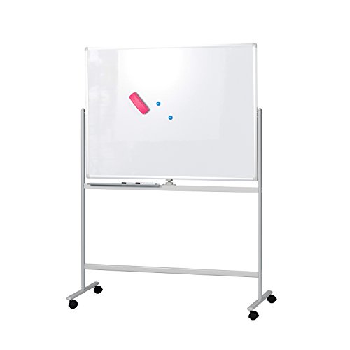 BuyHive Mobile Whiteboard 47'' x 35'' Double Sided Magnetic Dry Erase Board On Wheels Office Commercial Use Marker Board by En