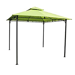 BeUniqueToday 10Ft x 10Ft Weather Resistant Gazebo Lime Green Canopy, Constructed A Durable Stylish Black Powder-Coated Outdoor Iron Frame, All Weather Water Resistant Iron Frame