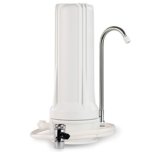 iSpring CKC1 Countertop Drinking Water Filtration System, White Housing - Includes 2.5''X10'' Carbon Block Filter by iSpring