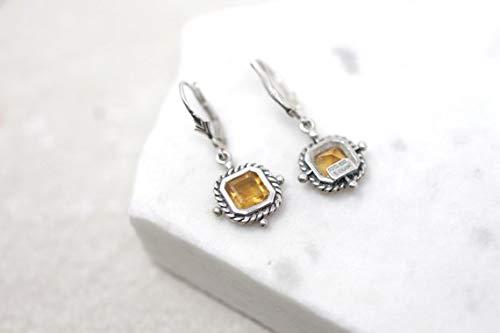 hongnguyen Sterling Silver Citrine Dangle Earrings with Rope Border, Silver Citrine Earrings, Yellow Gemstone Earrings, Designer Silver Dangle ()