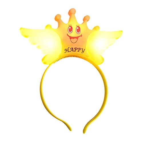 Coedfa LED Smiley Pattern Headband for Party Light Up Headband for Kids Cute Halloween Christmas Decorations Hair Accessories -