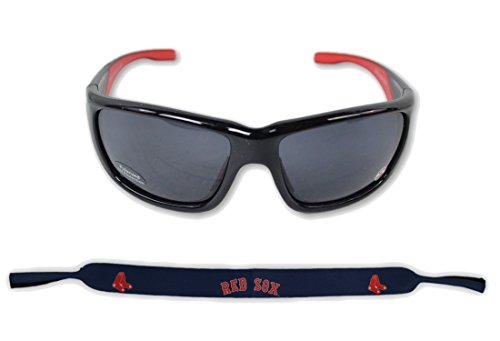Siskiyou Sports Inc Official Major League Baseball Fan Shop Authentic Sunglasses and Neoprene MLB Team Strap. Enjoy tailgating and the Game in the Sun with cool specs (Boston Red Sox)