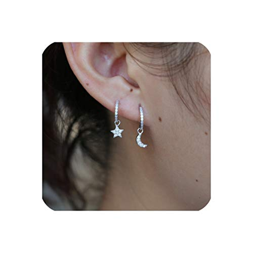 925 sterling silver charm earring cute tiny cz moon star charm cute lovely girl ()