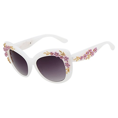 Guoxuan Women's Plactic Frame Butterfly Style Flower Sunglasses, - Aviator Sale Ray On Bans