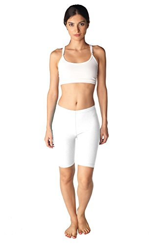100% Cotton Basic Short - In Touch Womens Combed Cotton Basics 7 Inch Bike Short (Small, White)