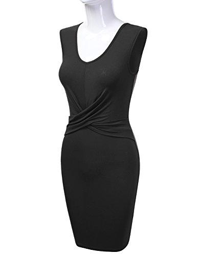 Front Twisted Midi Women's black Dress Awdmd0146 Sleeveless Bodycon Unique DRESSIS 4qFUcwBx