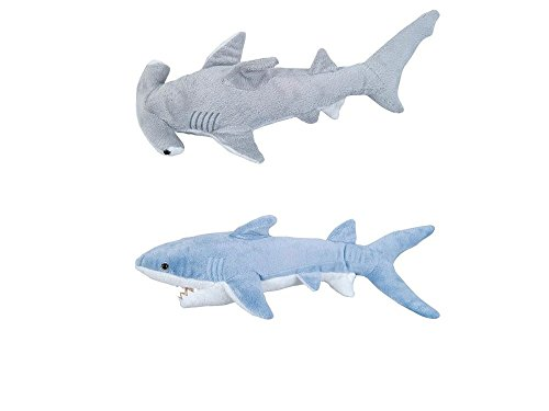 Adventure Planet - Set of 2 Plush SHARKS Mako and Hammerhead Shark - Stuffed Animal -Ocean Life - Soft Cuddly Shark Week Tank Toy, 14in. and 13in. set ()
