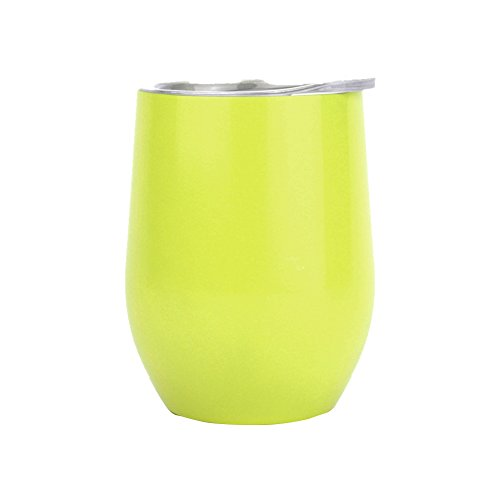 AUKUK 12 oz double insulated Stemless Wine Glass, BPA-Free Insulation Ice Dual, Stainless Steel Cover, Coffee, Beverage, Champagne, Cocktail (Yellow)