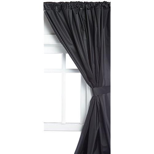 Carnation Home Fashions Vinyl Bathroom Window Curtain, Black