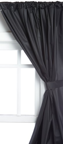 Carnation Home Fashions Vinyl Bathroom Window Curtain, Black Black Carnation
