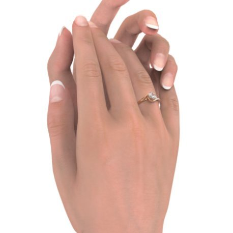 ELYA Bagues Or Rose 18 carats Saphir Blanc 0,6 Rond