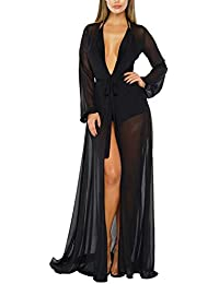 1de57f456f Women's Sexy Thin Mesh Long Sleeve Tie Front Swimsuit Swim Beach Maxi Cover  Up Dress