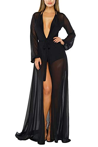 (Sovoyontee Women's Black Sexy Mesh Long Sleeve Swimsuit Swim Bathing Beach Cover Up Dress S)