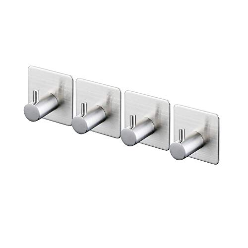 Kes SUS 304 Stainless Steel Self Adhesive Towel Robe Hook and Self Sitck On Wall Hook Sticky Brushed Finish 4 Pieces, A7060-2-P4