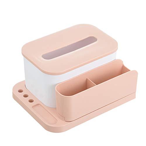 Gangglis Mobile TV Remote Control Storage Box Home Desk Bracket Tissue Box (Pink)