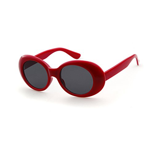 unglasses Mod Style Retro Thick Frame Kurt Cobain Inspired Sunglasses With Round Lens Vintage (Red, 51) (Vintage Style Sunglasses)