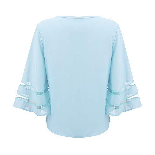 Blouse Tonsi Chic 4 3 Femme Bleu Chemisier V Bureau Ciel Taille Col Haut Grande Top Manche DE W18wqxTqF6
