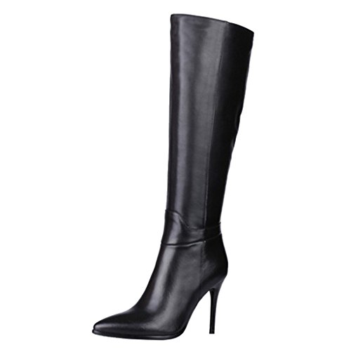 Dance&Style Women's Froie Black Autumn Winter Pointed Toe Stiletto Heels Knee High Boot 8.5 M US