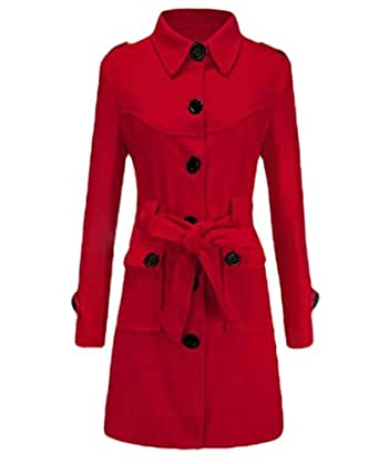 neveraway Womens Slim Fitted Fall Winter Solid Single Breasted Belted Overcoat Red L