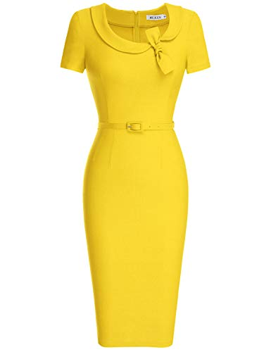 MUXXN Vintage Retro 50s 60s Semi Formal Wear to Work Dress with Belt (Yellow XL)