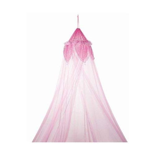 Metallic Moon and Stars Fantasy Bed Canopy with Feather Accent, Light Pink ()
