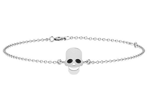 Or Blanc 18 ct Bracelet Diamant en forme de crâne, 0.01 Ct Diamant, GH-SI, 2.44 grammes.