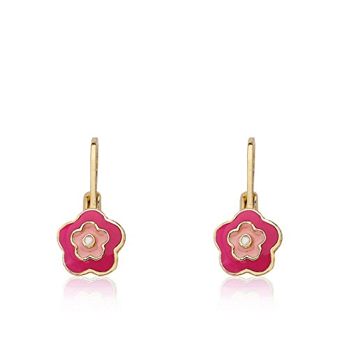 Little Miss Twin Stars 'Frosted Flower' 14k Gold-Plated Hot Pink and Pink Enamel Flower Leverback Earrings