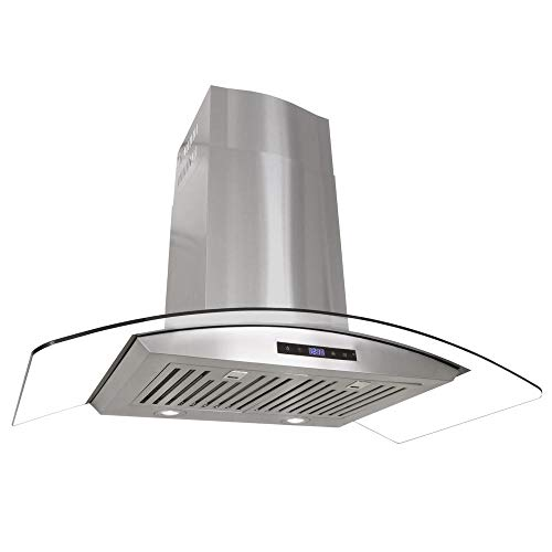 (Cosmo COS-668AS900 36 in. Wall Mount Pro-Style Range Hood | | 760 CFM Tempered Glass Ducted Exhaust Vent, 3 Speed Fan, LCD Digital Clock Display Touch Control Panel in stainless Steel,)
