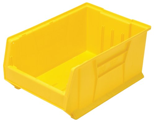 Quantum QUS954 Plastic Storage Stacking Hulk Container, 24-Inch by 16-Inch by 11-Inch, Yellow, Case of - High Capacity Extra Label
