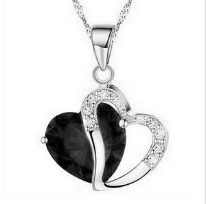 Fashion Women Heart Black Crystal Rhinestone Silver Chain Pendant Necklace ~пјЃпјЃ