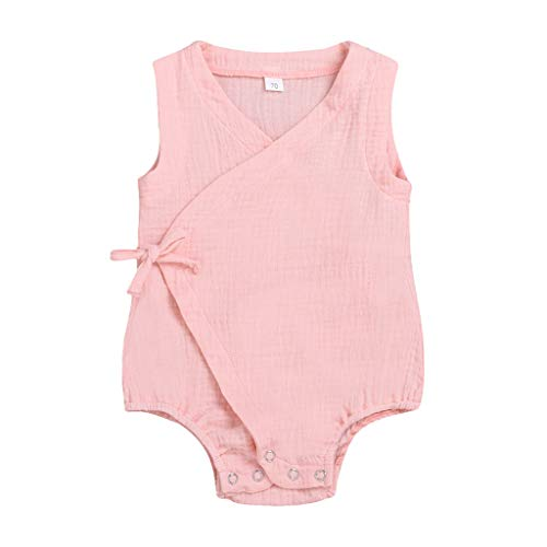 (LiLiMeng Summer Infant Baby Boys&Girls Sleeveless Cross Bow Tie Solid Print Romper Bodysuit Casual Clothes Pink)