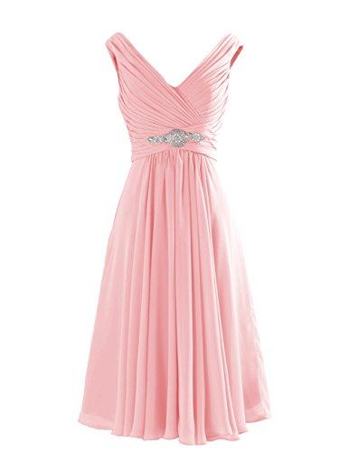 Tidetell 2016 Women's Short Evening Dress Rhinestons Bridesmaid Dress Knee Length Pink Size 24W