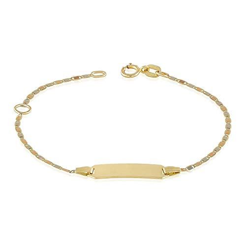 14k Baby Bracelet (TousiAttar Gold Baby Bracelets - 14k Gold Children's Bar Bracelets- Small Unique Jewelry for Girls and Boys- Free Personalized and Engraved With Newborn Kids Name -Chain 4.5