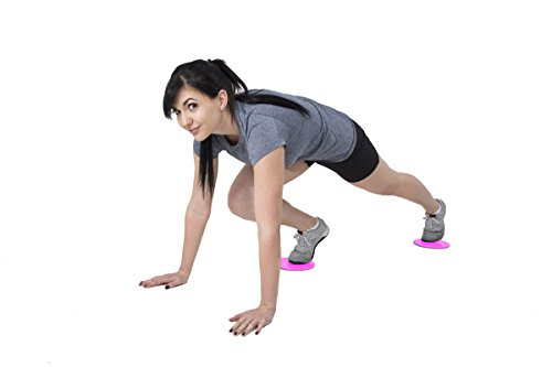 Large Product Image of iheartsynergee Power Pink Core Sliders. Dual Sided Use on Carpet or Hardwood Floors. Abdominal Exercise Equipment