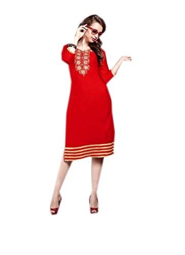 Jayayamala Rouge Floral 3 Manches Brodé Georgette Femmes Dress Top Tunique 4 fxZ5InfAw