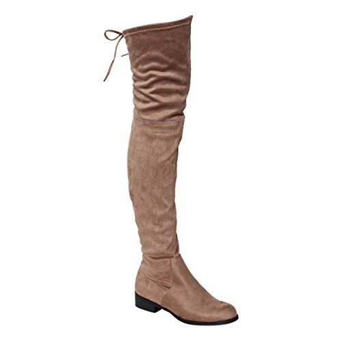 Beston GF59 Womens Drawstring Tie Low Heel Side Zipper Thigh High Stretch Boots Taupe