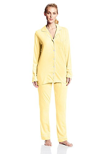Casual Nights Womens Sleepwear Classic Long Sleeve Pajama Set - Lemon - (Yellow Womens Pajamas)