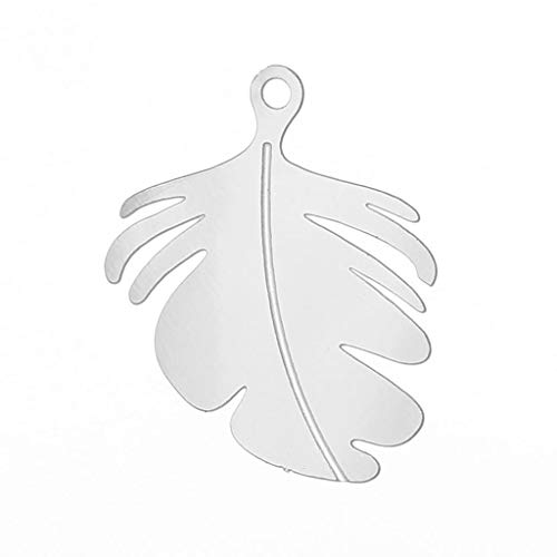 Stainless Steel Charm Pendants | Leaf Silver Tone Enamel 24.0Mm X 20.0Mm (3 Pcs)