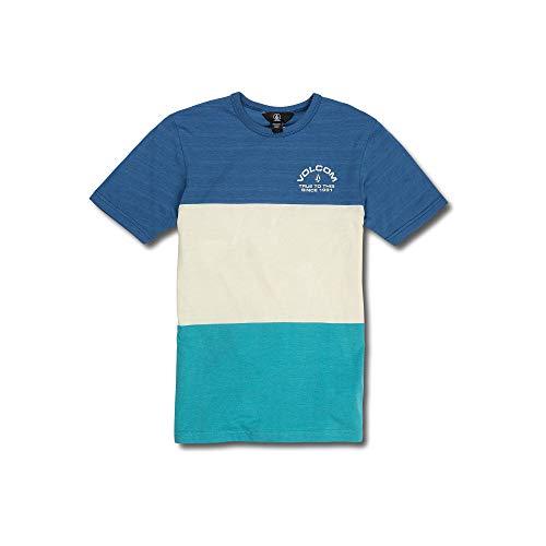 (Volcom Big Boys Boulder Large Block Striped Short Sleeve Tee, Coastal Blue,)