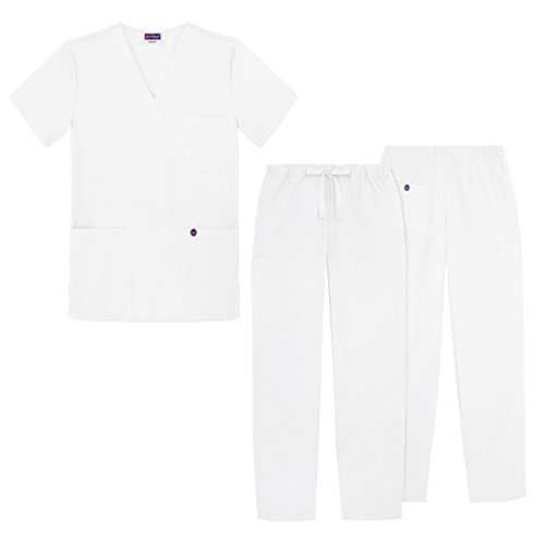 Cotton Poplin Smock (Sivvan Unisex Classic Scrub Set V-neck Top / Drawstring Pants (Available in 12 Solid Colors) - S8400 - White -)