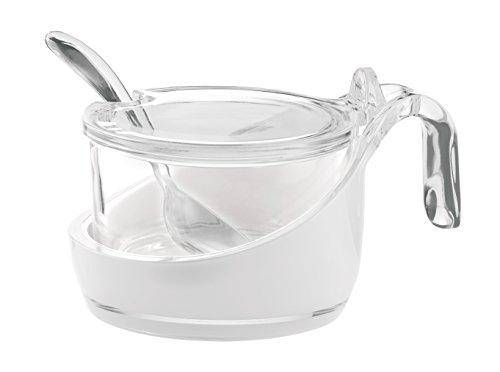 Guzzini Transparent Vintage Parmesan Server/Sugar Bowl with Teaspoon