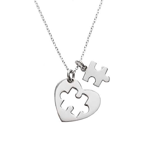 Fine jewelry Gifts Autism Awareness Month Gift - Womens 925 Sterling Silver Necklace 45 cm Rhodium Coated Italian Chain & Heart Shaped Pendant with Jigsaw Puzzle Piece -