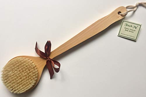 Touch Me Deluxe Dry Skin Body Brush 100% Natural Boar Bristle Long Handle Wooden Bath Body Back Brush, Premium Quality