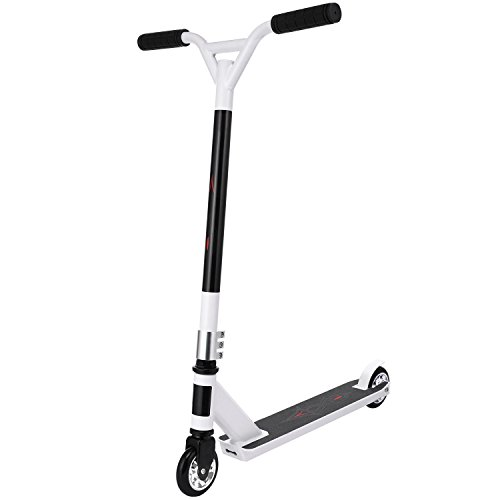 Anfan Kick Scooter T-Bar Plastic/Aluminum Core Best Gifts for Children Kids Boys Stunt Scooter (US STOCK) (White(Aluminum Wheel Core))