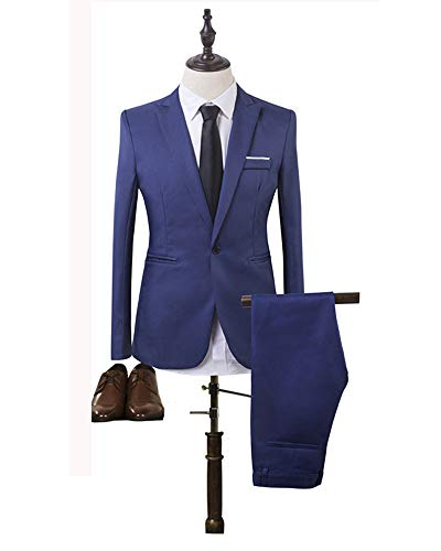 Slim Manica Blu Blazer Reale Pezzi Fit Uomo Lunga Xfentech Cappotti E 2 Pantaloni Giacca Semplice Set Giacche t7qZc14B
